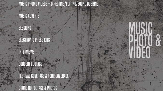 Music promo videos - Directing/editing/sound dubbing Music adverts Sessions Electronic press kits Interviews Concert footage Festival coverage Tour coverage Documentaries Post production DVDmastering/editing newcastle upon tyne