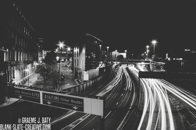 Newcastle black and white traffic night
