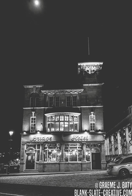 Newcastle black and white bridge hotel night - The Bridge Hotel