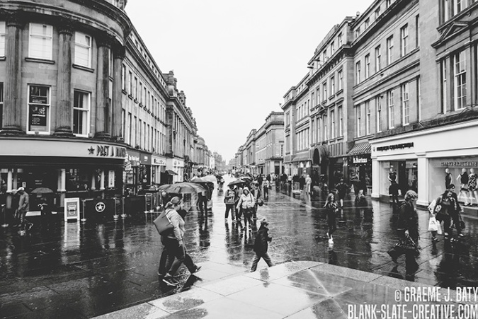 Newcastle black and white rain