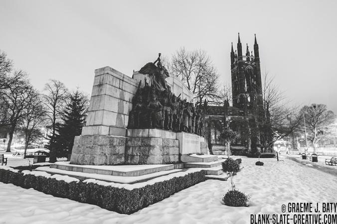 Newcastle black and white civic centre snow