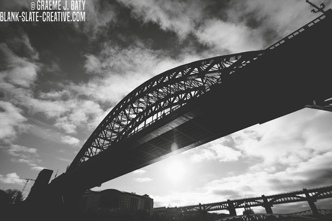 Newcastle black and white tyne bridge shadow river